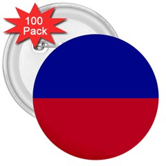 Civil Flag of Haiti (Without Coat of Arms) 3  Buttons (100 pack)