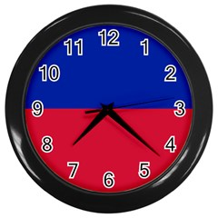 Civil Flag of Haiti (Without Coat of Arms) Wall Clocks (Black)