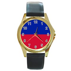 Civil Flag of Haiti (Without Coat of Arms) Round Gold Metal Watch