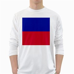 Civil Flag of Haiti (Without Coat of Arms) White Long Sleeve T-Shirts