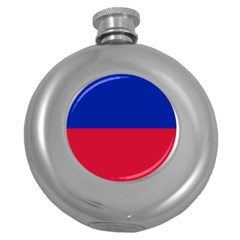 Civil Flag of Haiti (Without Coat of Arms) Round Hip Flask (5 oz)
