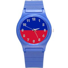 Civil Flag of Haiti (Without Coat of Arms) Round Plastic Sport Watch (S)
