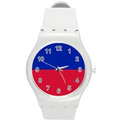 Civil Flag of Haiti (Without Coat of Arms) Round Plastic Sport Watch (M)