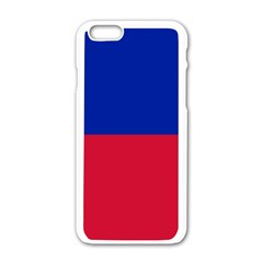 Civil Flag of Haiti (Without Coat of Arms) Apple iPhone 6/6S White Enamel Case