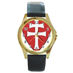 Coat of Arms of Apostolic Kingdom of Hungary, 1172-1196 Round Gold Metal Watch