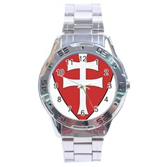 Coat of Arms of Apostolic Kingdom of Hungary, 1172-1196 Stainless Steel Analogue Watch