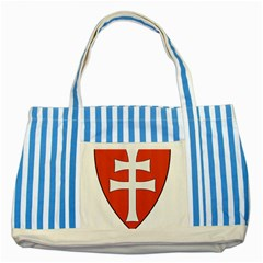 Coat of Arms of Apostolic Kingdom of Hungary, 1172-1196 Striped Blue Tote Bag