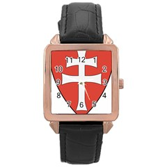 Coat of Arms of Apostolic Kingdom of Hungary, 1172-1196 Rose Gold Leather Watch