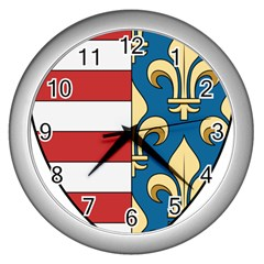 Angevins Dynasty of Hungary Coat of Arms Wall Clocks (Silver)