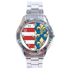Angevins Dynasty of Hungary Coat of Arms Stainless Steel Analogue Watch