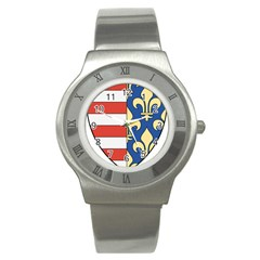 Angevins Dynasty of Hungary Coat of Arms Stainless Steel Watch
