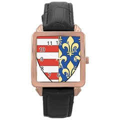 Angevins Dynasty of Hungary Coat of Arms Rose Gold Leather Watch