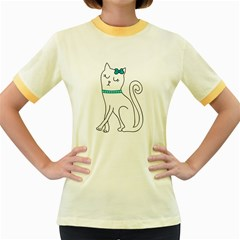 Cute cat character Women s Fitted Ringer T-Shirts