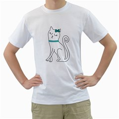 Cute cat character Men s T-Shirt (White) (Two Sided)