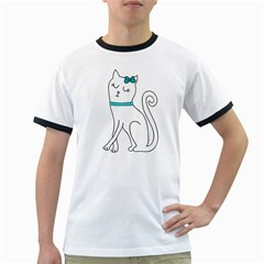 Cute cat character Ringer T-Shirts