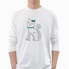 Cute cat character White Long Sleeve T-Shirts