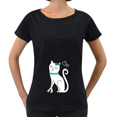 Cute cat character Women s Loose-Fit T-Shirt (Black)