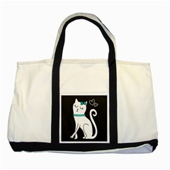 Cute Cat Character Two Tone Tote Bag