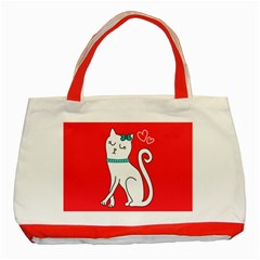 Cute Cat Character Classic Tote Bag (Red)