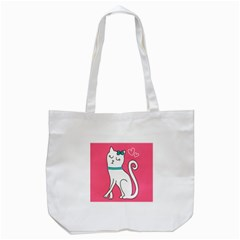 Cute Cat Character Tote Bag (White)