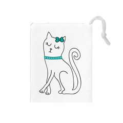 Cute Cat Character Drawstring Pouches (Medium)