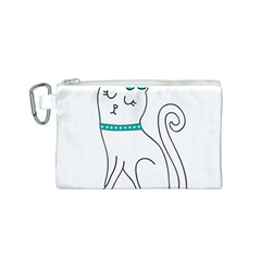 Cute Cat Character Canvas Cosmetic Bag (S)