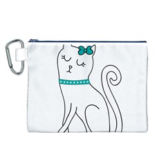 Cute Cat Character Canvas Cosmetic Bag (L)