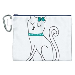 Cute Cat Character Canvas Cosmetic Bag (XXL)