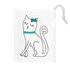 Cute Cat Character Drawstring Pouches (Extra Large)