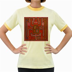 Frog Pattern Women s Fitted Ringer T-Shirts