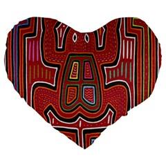 Frog Pattern Large 19  Premium Heart Shape Cushions