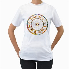 Zodiac Institute Of Vedic Astrology Women s T-Shirt (White) (Two Sided)