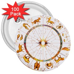 Zodiac Institute Of Vedic Astrology 3  Buttons (100 Pack)