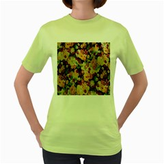 Japanese Ethnic Pattern Women s Green T-Shirt