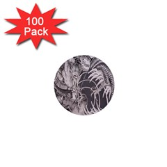 Chinese Dragon Tattoo 1  Mini Buttons (100 pack)