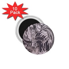 Chinese Dragon Tattoo 1.75  Magnets (10 pack)