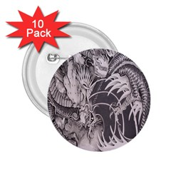 Chinese Dragon Tattoo 2.25  Buttons (10 pack)