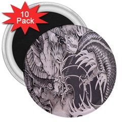Chinese Dragon Tattoo 3  Magnets (10 pack)