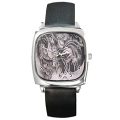 Chinese Dragon Tattoo Square Metal Watch