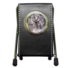 Chinese Dragon Tattoo Pen Holder Desk Clocks