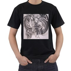 Chinese Dragon Tattoo Men s T-Shirt (Black) (Two Sided)