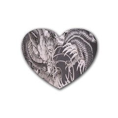 Chinese Dragon Tattoo Rubber Coaster (heart)