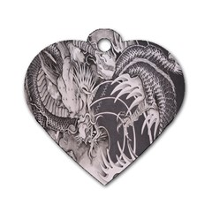 Chinese Dragon Tattoo Dog Tag Heart (Two Sides)