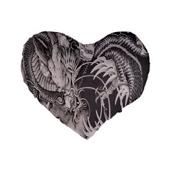 Chinese Dragon Tattoo Standard 16  Premium Flano Heart Shape Cushions