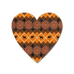 Traditiona  Patterns And African Patterns Heart Magnet