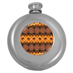 Traditiona  Patterns And African Patterns Round Hip Flask (5 oz)