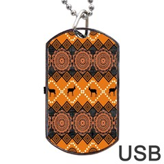 Traditiona  Patterns And African Patterns Dog Tag USB Flash (Two Sides)