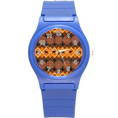 Traditiona  Patterns And African Patterns Round Plastic Sport Watch (S)