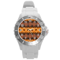 Traditiona  Patterns And African Patterns Round Plastic Sport Watch (L)