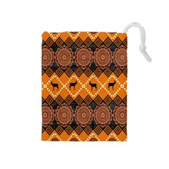 Traditiona  Patterns And African Patterns Drawstring Pouches (Medium)